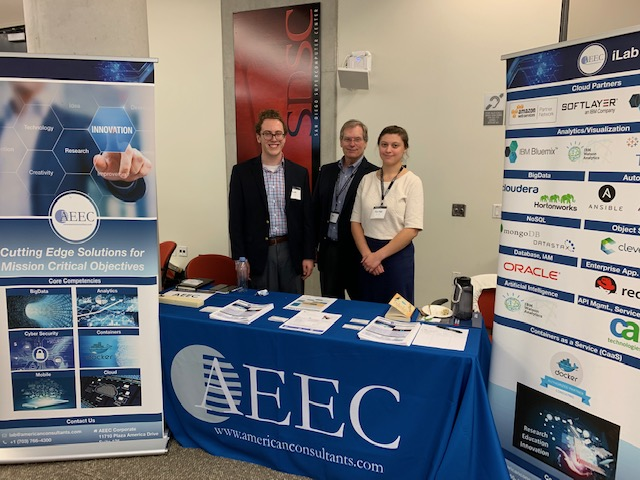 Noah Zeidman, Jim Short, and Rachel Darata at AEEC's table